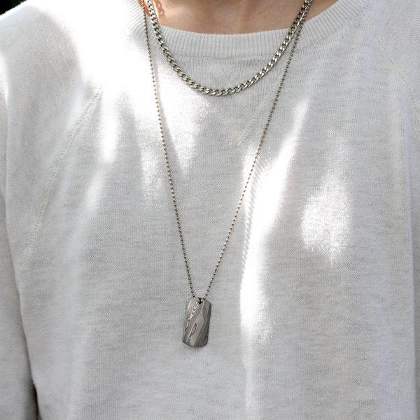 Chris Ploof Damascus Dog Tag Necklace