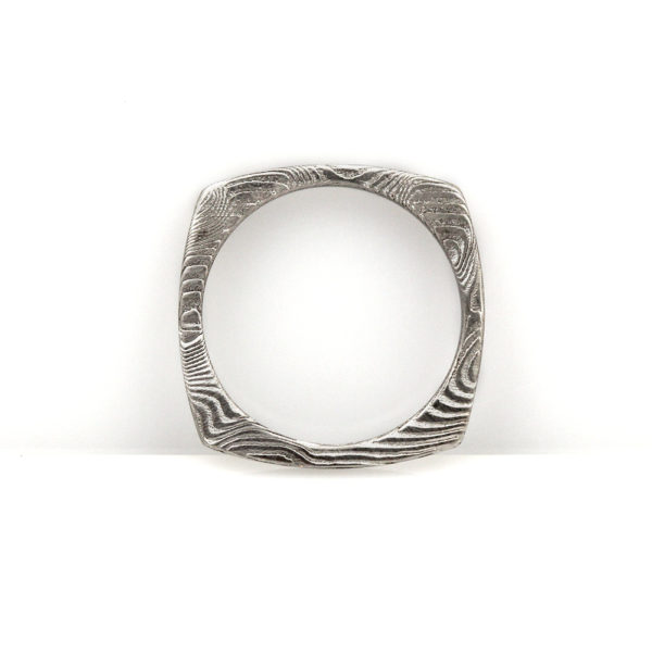 Chris Ploof Damascus Square Stacker Ring
