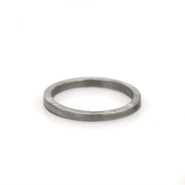 Chris Ploof Damascus Flat Stacker Ring
