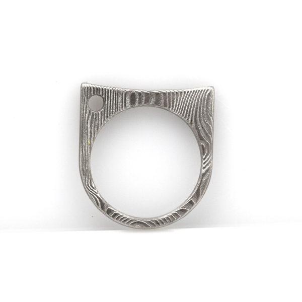 Chris Ploof Damascus Steel Flat Top Stacker Ring
