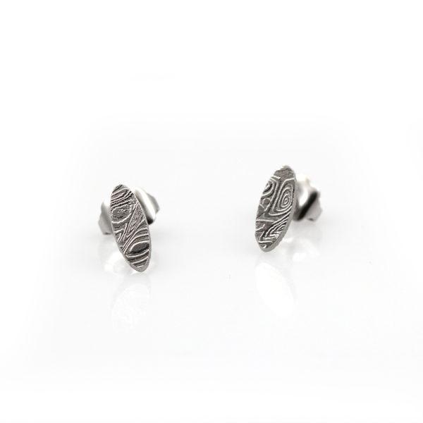 Chris Ploof Damascus Oval Stud Earrings