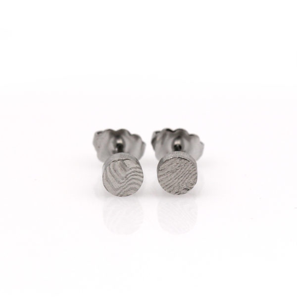 Chris Ploof Damascus Circle Stud Earrings