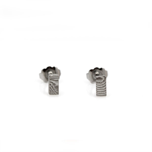 Chris Ploof Damascus Small Rectangle Stud Earrings