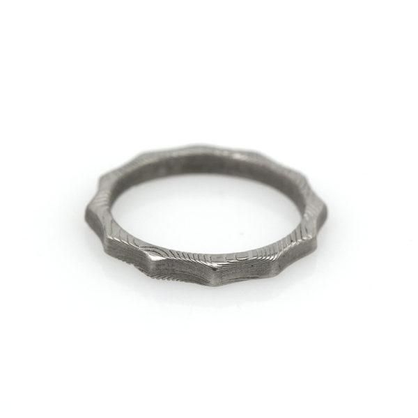 Chris Ploof Damascus Steel Scalloped Stacker Ring
