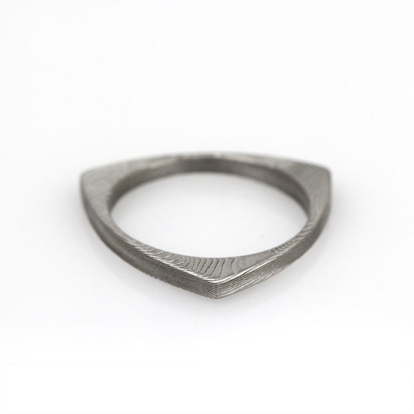 Chris Ploof Damascus Triangle Stacker Ring
