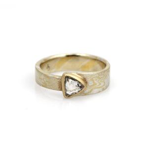 "Chris Ploof 18K Yellow Gold & Silver Diamond ""Maple"" Ring"