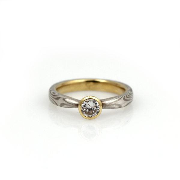 Chris Ploof Mokume Gane Bezel Set Cubic Zirconia Solitaire Ring