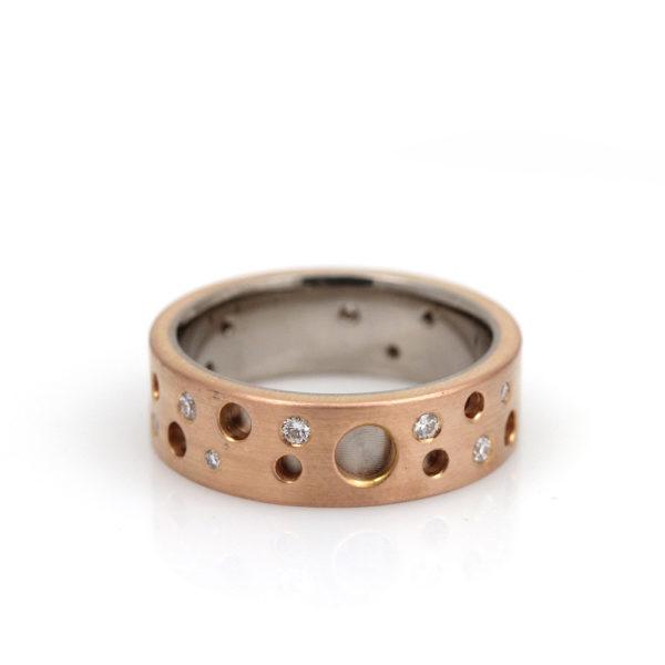 """Chris Ploof 18K Red & White Gold & Diamond """"Dot"""" Ring"""