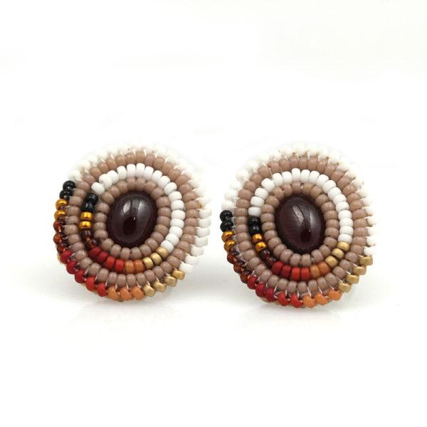 "Cheyanne Symone Beaded Garnet ""Harvest"" Stud Earrings"