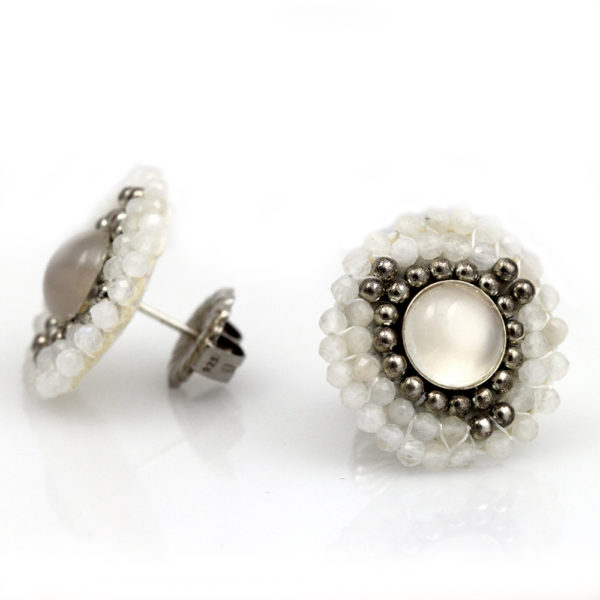 Cheyanne Symone Beaded Palladium & Moonstone Stud Earrings