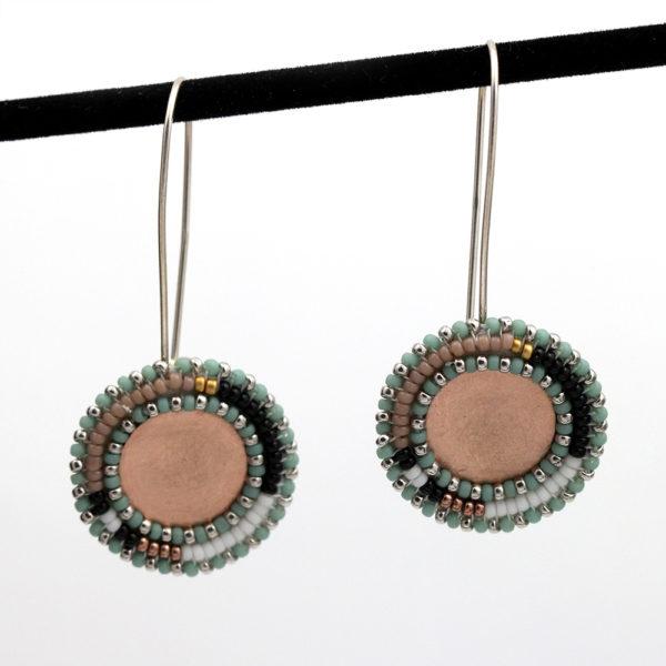 "Cheyanne Symone Beaded Color Block ""Rose"" Earrings"
