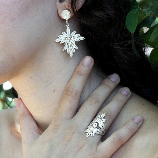 "Muxi Silver ""Leaf Cluster"" Earrings"