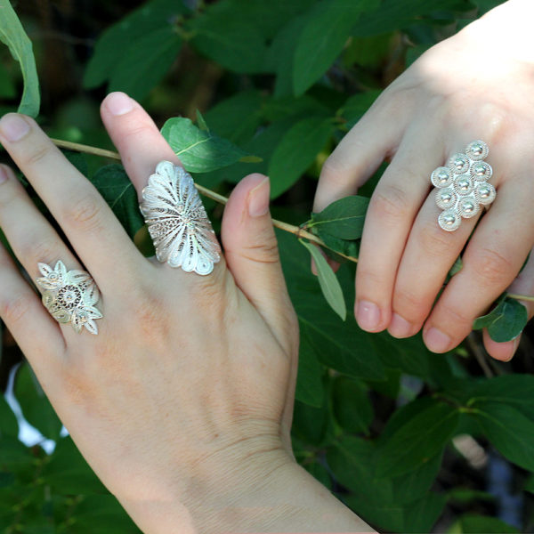 "Muxi Silver ""Plumes"" Ring"