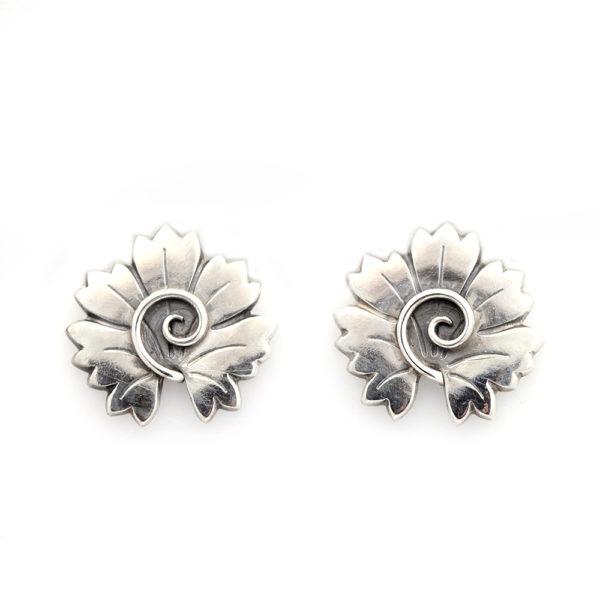 Wendel x Georg Jensen Sterling Silver Floral Clip On Earrings No. 102