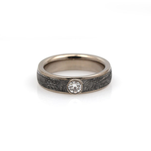 "Chris Ploof Palladium 500 Diamond & Meteorite ""Vega"" Ring"