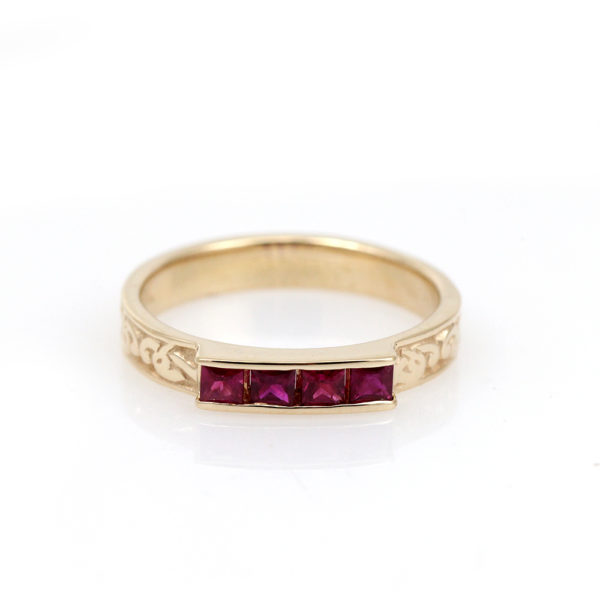 "14K Yellow Gold Ruby ""Celtic Heron"" Ring"