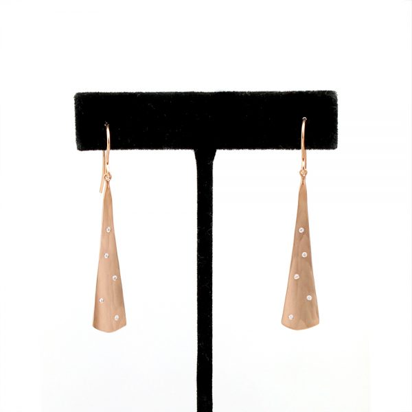 "Toby Pomeroy Eco Rose Gold & Diamond ""Orchid Mist"" Earrings"