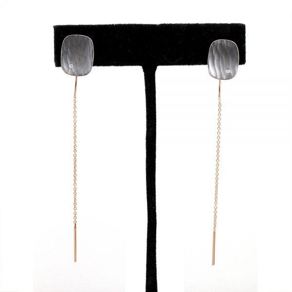 "Toby Pomeroy Eco Silver & Rose Gold ""Diamond Metolius Crest"" Ear Threaders"