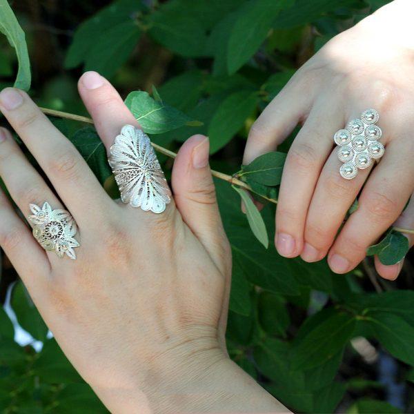 "Muxi Silver ""Leaf Cluster"" Ring"