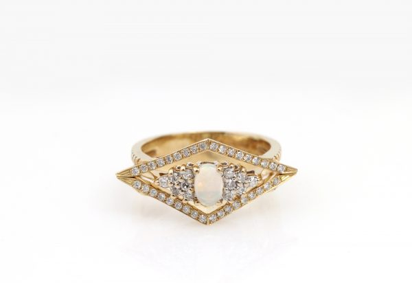 Arte*Vitta Opal & Diamond Chevron Soldered Ring Suite