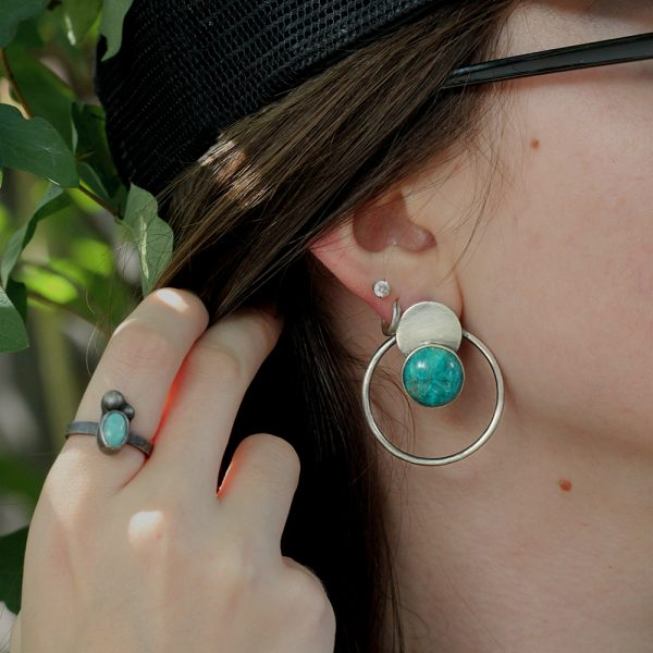 "Natalie La Bruzzy Sterling Silver & Chrysocolla ""Circles"" Earrings"
