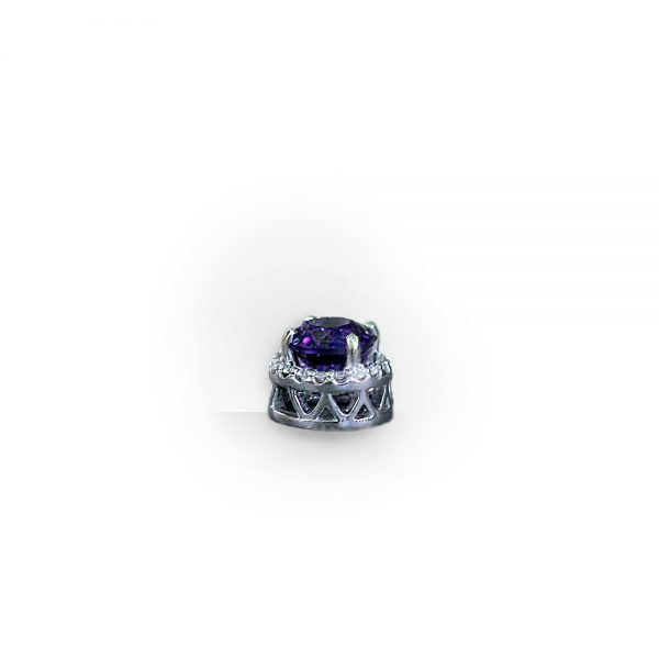 14K White Gold Amethyst & Diamond Halo Pendant