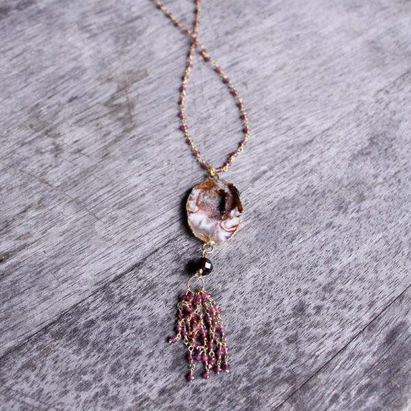 Barton Designs Agate Druzy & Garnet Necklace