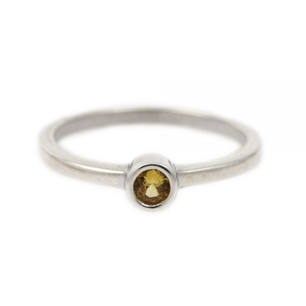 Sterling Silver & Chartreuse Sapphire Ring
