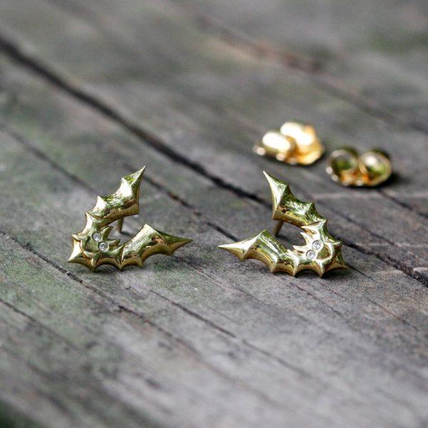 """Arte*Vitta 18K Yellow Gold & Diamond """"Soaring Bat"""" Earrings"""