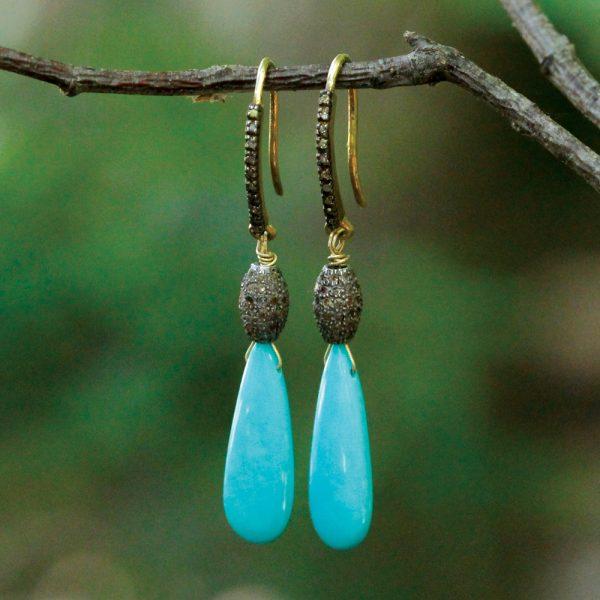 Barton Designs Sleeping Beauty Turquoise & Diamond Earrings