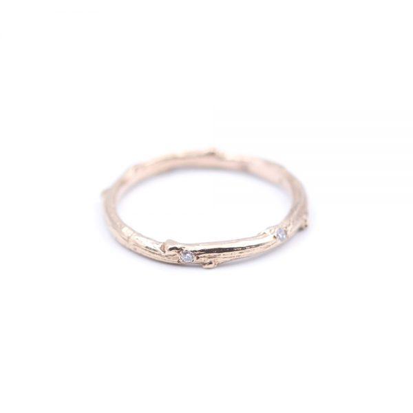 Pippa Jayne Designs 14K Rose Gold Signature Skinny Twig Diamond Droplet Ring