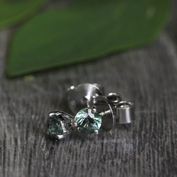 Sterling Silver Green Sapphire Martini Studs