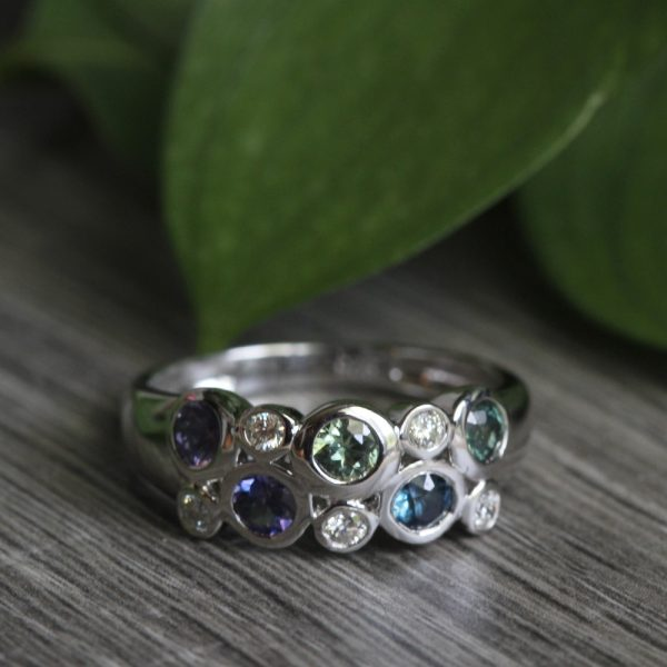 "Sterling Silver Sapphire & Diamond ""Bubble"" Ring"