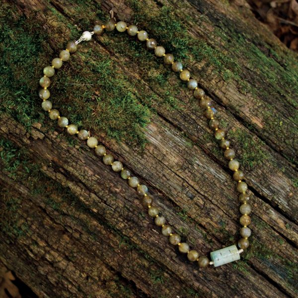 Barton Designs Yellow Labradorite & Carved Jade Necklace