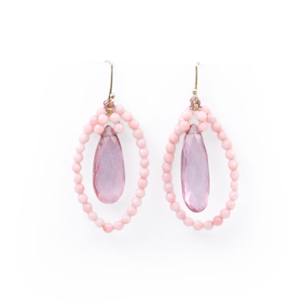 Barton Designs Pink Topaz & Coral Earrings