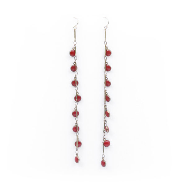Barton Designs Brass & Red Enamel Earrings