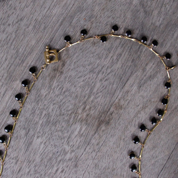 """Barton Designs Black Enamel """"Drops"""" Necklace"""