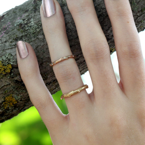 Pippa Jayne Designs 14K Rose Gold Signature Skinny Twig Diamond Droplet Ring