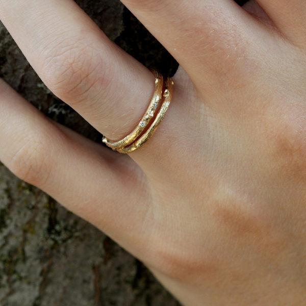 Pippa Jayne Designs 14K Yellow Gold Signature Skinny Twig Diamond Droplet Ring