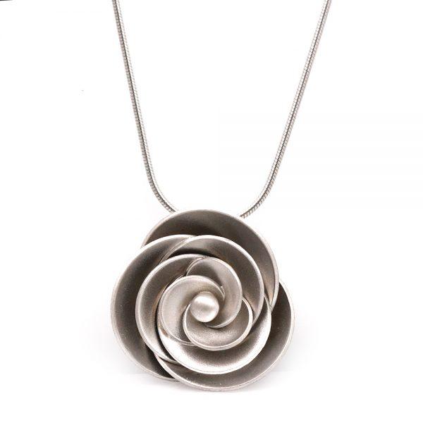 "Kelim Sterling Silver ""Rose"" Necklace"