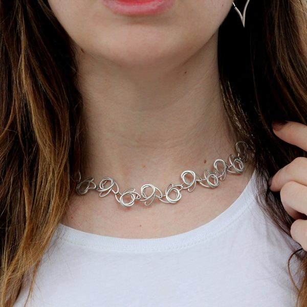 "Kelim Sterling Silver ""Squiggle"" Necklace"