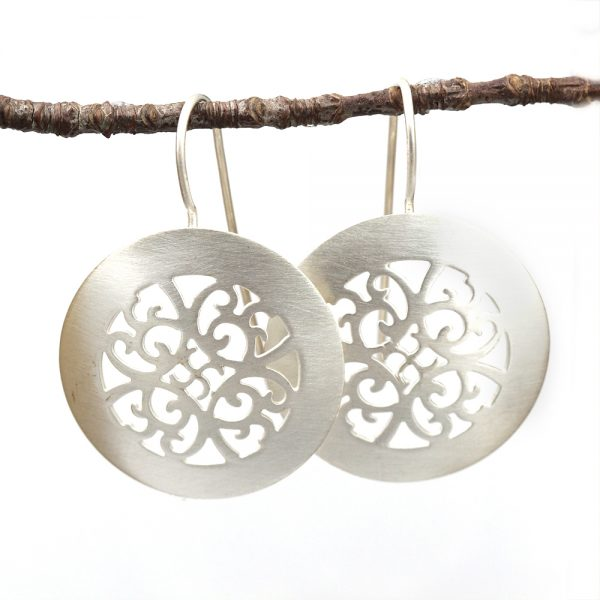 Kelim Sterling Silver Lace Disc Earrings