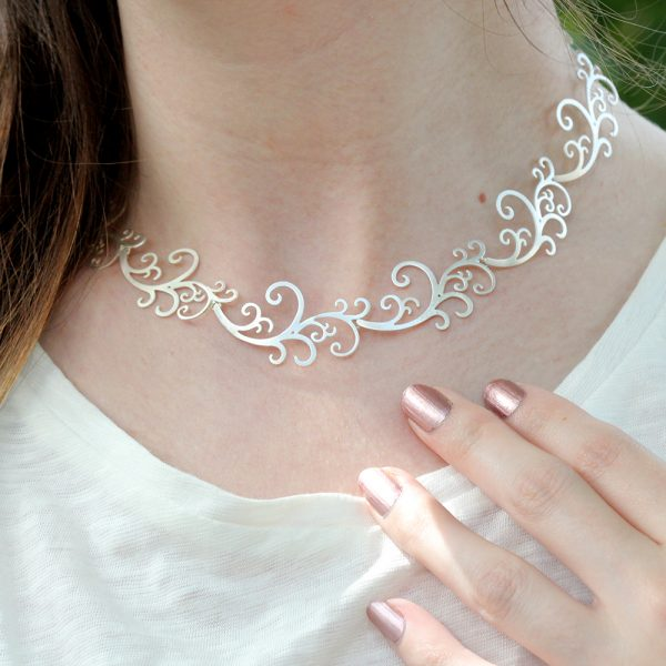 "Kelim Sterling Silver ""Scroll"" Necklace"