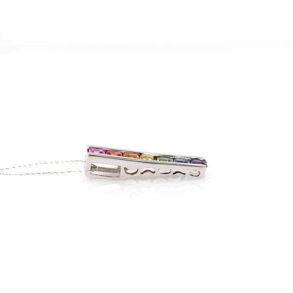14K White Gold Rainbow Sapphire Bar Pendant
