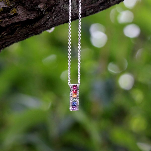 Sterling Silver Rainbow Sapphire & Diamond Bar Pendant