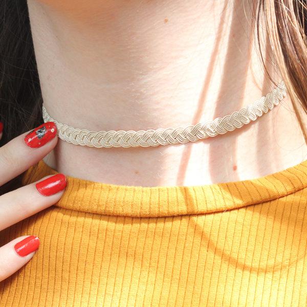 """Muxi """"Simpita"""" Silver Braided Choker Necklace"""