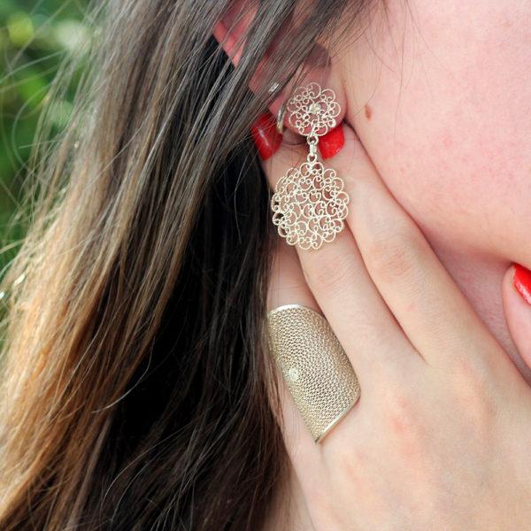 Muxi Silver Lace Circles Earrings