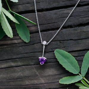 "14K White Gold Amethyst & Diamond ""Arrow"" Slide Pendant"