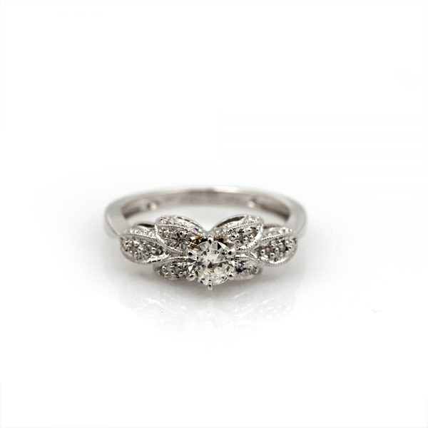 "18K White Gold .55ctw Diamond ""Petals"" Engagement Ring"