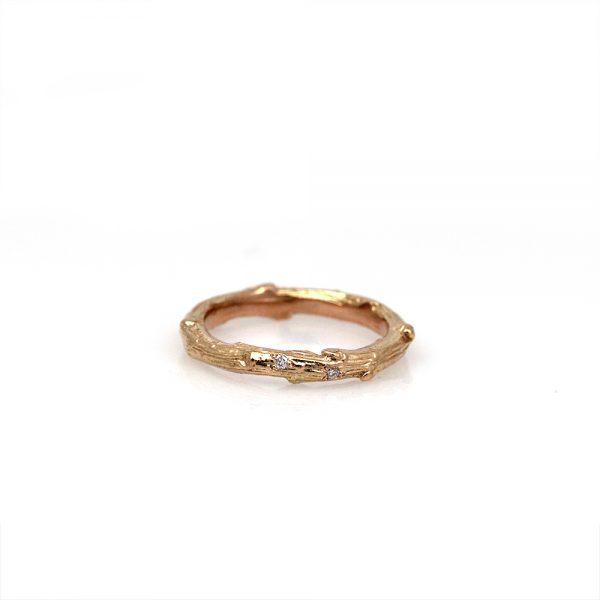 Pippa Jayne Designs 14K Rose Gold Signature Twig Diamond Droplet Ring